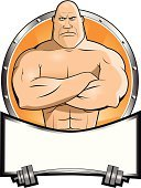 Body Building,Human Muscle,Cartoon,Mascot,Weights,Weight Training,Completely Bald,Weightlifting,Sign,Muscular Build,Anger,Furious,Vector,Large,Shaved Head,Vector Cartoons,Sports And Fitness,People,shinny,Banner,Placard,Ilustration,Fitness,Silver - Metal,Silver Colored,Serious,Illustrations And Vector Art,Metal