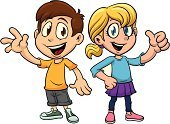 Child,Little Boys,Cartoon,Happiness,Waving,Thumbs Up,Characters,Vector,Smiling,Cute,Standing,Shorts,Blond Hair,Brown Hair,Vector Cartoons,People,Skirt,Color Gradient,Illustrations And Vector Art