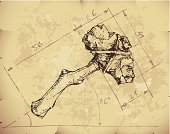 Work Tool,Invention,Stone,Old,Blueprint,Innovation,Old-fashioned,Obsolete,Hammer,Drawing - Activity,Stone Age,Axe,Ancient,Sketch,Textured Effect,The Past,Textured,Rock - Object,Ideas,Plan,Primitivism,Wood - Material,Symbol,Indigenous Culture,Dirty,Drawing - Art Product,Mallet,Weapon,Paper,Hatchet,Text,Ilustration,Vector,Pencil Drawing,Paperwork,Grunge,Concepts,Prehistoric Era,Parchment,Stick - Plant Part,Document,Heavy,History,Progress,No People,Stained,Wrinkled,eps8,hand drawn,Hand Tool