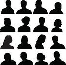 Silhouette,Human Head,Human Face,Women,Group Of People,Male,Shadow,Vector,Young Adult,Black Color,Ilustration,Set,Young Adults,Teens,Isolated On White,Lifestyle,Adults
