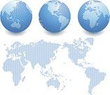 Globe - Man Made Object,World Map,Spotted,Map,Earth,Planet - Space,Sphere,Vector,White Background,Symbol,Blue