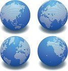 Globe - Man Made Object,Striped,Sphere,Earth,Vector,Map,Blue,Ilustration,White Background