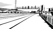Railroad Track,Drawing - Art Product,Modern,Black Color,White,Urban Skyline,Ilustration,Etching,Built Structure,Residential District,Town,Vector,Building Exterior,Horizon Over Land,Ink,Ink Drawing,City Life,Grunge,City,Design,Urban Scene,Part Of,Skyscraper,Downtown District