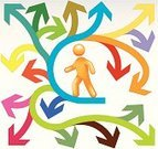 Choice,Confusion,People,Strategy,Communication,Three-dimensional Shape,One Person,Connection,Arrow Symbol,Action,Flow Chart,Solution,Symbol,Concepts,Direction,Stick Figure,Simplicity,Walking,Multi Colored,Ilustration,Vector,Curve,Design Element,Information Symbol