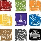 Video Game,Handheld Video Game,Doodle,Icon Set,Symbol,Control,Grunge,Sketch,Block,Rough,Objects/Equipment,Set,Isolated On White,Distressed,Illustrations And Vector Art,hand drawn,Group of Objects,Textured Effect,Vibrant Color,Square,Vector Icons,Vector,Collection,Color Image,Large Group of Objects,Drawing - Art Product,Ilustration,Textured,White Background