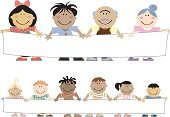 Child,Banner,Multi-Ethnic Group,Parent,Holding,Senior Adult,Marketing,Billboard,White,Mature Adult,Message,Blank,Copy Space
