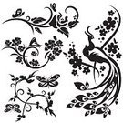 Peacock,Flower,Rose - Flower,Floral Pattern,Vector,Bird,Japanese Culture,Design,Butterfly - Insect,Silhouette,Art,Chinese Culture,Swirl,Ilustration,Design Element,Art Nouveau,Art Deco,Black Color,East Asian Culture,Scroll Shape,Symbol,flourishes,Drawing - Art Product,Ornate,Decoration,Computer Graphic,Clip Art,Line Art,Curled Up,Series,floral ornament,Elegance,Leaf,Ornamental Garden,Springtime,Art Product,Summer,Nature,Plant,decorative ornament,vinyl-ready,Botany,Exoticism,Digitally Generated Image,Beautiful,Modern,accent,Classical Style,Cartouche,Beauty In Nature,Beauty,People,Arts And Entertainment,Visual Art,handcarves