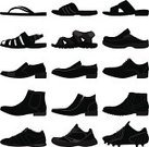 Shoe,Men,Dress Shoe,Sandal,Vector,Clothing,Boot,Business,Sport,Slipper,Side View,Male,Ilustration,Black Color,Set,Leather,Personal Accessory,Isolated,Fashion,Casual Clothing,Elegance,Design,Group of Objects,Computer Graphic,White,Concepts And Ideas,Objects/Equipment,Isolated Objects,Consumerism,Style,Tall,Simplicity,Modern,Long