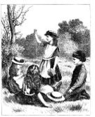 Little Girls,Victorian Style,Child,Old,Little Boys,Offspring,Old-fashioned,Flower,Outdoors,Meadow,Lifestyle,Daisy Chain,Line Art,Antique,People,Visual Art,19th Century Style,Single Flower,Fashion,Field,Playful,Straw Hat,Playing,Sitting,Babies And Children,History,Black And White,Old Costumes,Arts And Entertainment,pinafore dress,People,Engraved Image