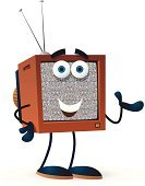 Television Set,Cartoon,Video,Characters,The Media,Advertisement,Television Static,Information Medium,Watching,Showing,Ilustration,Isolated On White,Vector,Communication