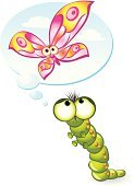 Caterpillar,Butterfly - Insect,Worm,Cartoon,Dreamlike,Insect,Painted Image,Ilustration,Contemplation,Illustrations And Vector Art,Insects,Vector Cartoons,Animals And Pets,Image,Vibrant Color,Romance,Desire