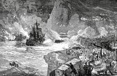 Armed Forces,American Revolution,Old-fashioned,Victorian Style,Military Ship,Nautical Vessel,War,Ilustration,Image Created 18th Century,Military,Rebellion,Engraved Image,British Military,Historical War Event,Battle,Europe,19th Century Style,Revolution,Mode of Transport,Army Soldier,Illustrations And Vector Art,History,Styles,Royal Navy,Iberian Peninsula,Gibraltar,Antique,Obsolete,Navy,Army,Concepts And Ideas,Siege,Image Created 19th Century,Southern Europe,Travel Locations,The Past,Conflict,Warship,Old