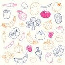Vegetable,Fruit,Food,Pattern,Drawing - Art Product,Vector,Organic,Ilustration,Raw Potato,Onion,Strawberry,Dieting,Tomato,Variation,Pepper - Vegetable,Chili Pepper,Apple - Fruit,Leaf Vegetable,Banana,Broccoli,Plum,Kiwi - Fruit,Isolated On White,hand drawn,Food And Drink,Healthy Eating,Food Backgrounds,Illustrations And Vector Art,Vector Cartoons,Fruits And Vegetables,Focus On Background