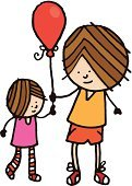 Sister,Brother,Balloon,Little Girls,People,Lifestyle,Babies And Children,Two People,Little Boys,Cartoon,Illustrations And Vector Art