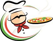 Pizza,Chef,Cooking,Italy,Italian Culture,Food,Vector,Ilustration,Mustache,Fast Food Restaurant,Fast Food,Food And Drink