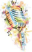 Music,Microphone,Musical Note,Radio,Singing,Retro Revival,Doodle,Old-fashioned,Watercolor Paints,Watercolor Painting,Colors,Drawing - Art Product,Vector,Entertainment,Variation,The Media,Ilustration,Performance,Studio Shot,Incomplete,Bunt,Symbol,White Background,Single Object,Cut Out,Exploding,Blue