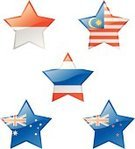 Star - Space,Australian Flag,Malaysia,New Zealand,Flag,Icon Set,Glass - Material,Australia,Sign,Thailand,Patriotism,Symbol,state,Star Shape,Illuminated,Computer Icon,Pushing,Shiny,Indonesia,Interface Icons,Design Element,Malaysian Flag,Illustrations And Vector Art,Government,Vector,Rural Scene,National Flag,Vector Icons,Non-Urban Scene,Indonesian Flag,Souvenir,Taiwanese Flag,Thai Flag,Push Button