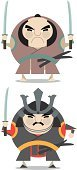 Samurai,Warrior,Japan,Characters,Cute,Japanese Culture,Japanese Ethnicity,Illustrations And Vector Art,People,martial,Circle,Rudeness,Curve