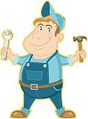 Plumber,Mechanic,Craftsperson,Repairman,Cartoon,Repairing,Bib Overalls,Technician,Manual Worker,Assistance,Occupation,Mascot,Coveralls,Baseball Cap,Work Tool,Auto Mechanic,Rolled-Up Sleeves,White Background,Preparation,Characters,Isolated,Strength,Cap,Wrench,Greeting,Hammer,Smiling,Alertness,Uniform Cap,Power,Maintenance Engineer,Jack Of All Trades,Industry,Power,Concepts And Ideas,Service Occupation,Equipment,Pride,Isolated On White,Illustrations And Vector Art,Vector Cartoons,Retail/Service Industry,Uniform,Confidence,Blue,Cheerful,Service,Hello