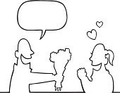 Talking,Women,Men,Laughing,People,Giving,Cartoon,Romance,Dating,Speech Bubble,Flower,Ilustration,Joy,Love,Fun,Valentine's Day,White,Couple,Vector,Vector Cartoons,Holidays And Celebrations,People,Illustrations And Vector Art,Drawing - Art Product,Image,Black Color