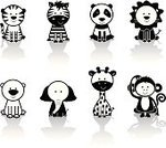 Animal,Monkey,Panda,Cute,Zebra,Symbol,Lion - Feline,Cartoon,Ape,Animal Themes,Tiger,Elephant,Computer Icon,Icon Set,Vector,Black And White,Characters,Giraffe,Humor,Polar Bear,Safari Animals,Computer Graphic,Black Color,Ilustration,Animals In The Wild,Modern,Funky,Collection,Fun,Cheerful,Environmental Conservation,Vibrant Color,Isolated,Reflection,Mammals,zoo animals,Mammal,Animals And Pets,Illustrations And Vector Art,Big Cat