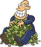 Greed,Wealth,Currency,Men,Heap,Cartoon,Ilustration,Smiling,Holding,Inflation,Economic Depression,Interest Rate,Millionnaire,Control,White Background,Vector