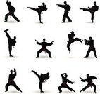 Karate,Silhouette,Martial Arts,Sport,Tae Kwon Do,Back Lit,Kicking,Fighting,Combat Sport,Boxing,Kung Fu,Conflict,Vector,Protection,Self-Defense,Defending,Clip Art,Japanese Culture,Agility,Kickboxing,Shadow,Male,Fighting Stance,Determination,Strength,Ilustration,Punching,Set,Struggle,Outline,Power,Chinese Culture,Practicing,Black And White,Effort,Physical Activity,Standing,Sports Clothing,Activity,Balance,Bending,Competitive Sport,Competition,Multiple Image,Sports Uniform,Sports Training,Sports And Fitness,Isolated On White,People,White Background,Isolated Objects,Aggression