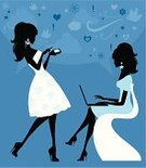 Women,Silhouette,Teenage Girls,Blog,Computer,Laptop,Talking,Discussion,Fashion,Cartoon,On The Phone,Gossip,Text Messaging,Mobile Phone,Communication,Vector,Smart Phone,Computer Network,People,Internet,Profile View,Cool,Technology,E-Mail,Style,Community,Speech,Global Communications,Ilustration,Elegance,Speech Bubble,Connection,Characters,Chair,People,Voice,Concepts And Ideas,Communication,Vector Cartoons,Illustrations And Vector Art