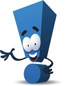 Exclamation Point,Excitement,Communication,Greeting,Characters,Vector,Message,Blue,Showing,Good News,Ilustration,Human Face