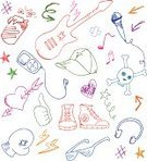 Doodle,Microphone,Adolescence,Guitar,Teen Pop,Shoe,Rock and Roll,Symbol,Heart Shape,Thumbs Up,Scribble,Music,Icon Set,Sports Glove,Star Shape,Sketch,Headphones,Boxing Glove,Arrow Symbol,Sunglasses,Electric Guitar,Cap,Funky,Cool,Drink Can,Collection,Musical Note,Vector Icons,Isolated-Background Objects,Can,Teens,Decoration,Drink,Illustrations And Vector Art,Isolated Objects,Lifestyle,Set