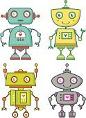 Robot,Cute,Cartoon,Toy,Retro Revival,Space,Cyborg,Cool,Science,Futuristic,Group of Objects,Machinery,Computer Graphic,Set,Technology,Machine Part,Yellow,Blue,Antenna - Aerial,Green Color,Isolated On White,Multi Colored,Illustrations And Vector Art,Purple,Orange Color