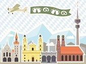 Munich,Urban Skyline,Germany,Airplane,Bavaria,City,Town Hall,Travel,Urban Scene,European Alps,Famous Place,Europe,Pretzel,Mountain,Vector,Beer - Alcohol,Old Town,Ilustration,Mug,Travel Destinations,Tourism,Cityscape,Architecture Backgrounds,Beer Glass,Monuments,Landmarks,Architecture And Buildings,Travel Locations