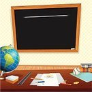 Classroom,Blackboard,Education,Wall,Desk,Vector,Black Color,Sign,Frame,Wood - Material,Globe - Man Made Object,Book,Chalk - Art Equipment,Pencil,Drawing - Art Product,Concepts,Note Pad,Ideas,Ilustration,Vector Backgrounds,Industry,Desktop Globe,Illustrations And Vector Art,Back to School,Education,Design,Blank,Ruler