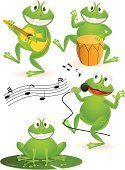 Frog,Animal,Guitar,Music,Humor,Musical Band,Singing,Playing,Fun,Dancing,Vector,Cartoon,Drum,Group Of Animals,Animals And Pets,Vector Cartoons,Percussion Instrument,Illustrations And Vector Art,Green Color,Ilustration,Happiness,Cheerful,Amphibian