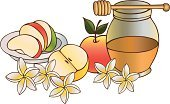 Judaism,Honey,Apple - Fruit,Rosh Hashana,New Year's Eve,Wood - Material,Illustrations And Vector Art,Food And Drink,Holidays And Celebrations,Food,Food Backgrounds,Vector Backgrounds,Stick - Plant Part,New Year,Celebration,Cultures,Fruit,Sweet Food