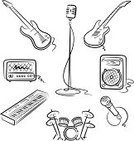 Microphone,Guitar,Drum,Rock and Roll,Music,Drum Kit,Amplifier,Set,Ilustration,Bass Guitar,Musical Instrument,Vector,Piano Key,Speaker,Art,Appliance,Percussion Instrument,Equipment,Electrical Equipment,Sound,Isolated,Music,White,Arts And Entertainment,Illustrations And Vector Art,Isolated Objects,Single Object,String Instrument,Collection,Musical Instrument String