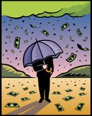 Currency,Umbrella,Prosperity,Rain,Pennies from Heaven,Finance,Business,Wealth,Home Finances,Investment,Interest Rate,Businessman,Falling,Abundance,Dollar,Success,Luck,Stock Market,Making Money,Success,Illustrations And Vector Art,moneymaking,business success,Concepts And Ideas