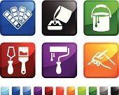 Painting,Home Improvement,Paint Can,Paint,Computer Icon,Icon Set,Paint Roller,Label,Home Addition,Paintbrush,Vector,Repairing,Color Swatch,Square Shape,Human Hand,Design Professional,White Background,Red,Design,Paint Scraper,Black Color,No People,Holding,Ilustration,Green Color,Blue