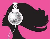 Club Dj,Teenage Girls,Music,Disco,Women,Party - Social Event,Headphones,Silhouette,Nightclub,Fashion,Disco Ball,Vector,People,Cool,Cartoon,Profile View,Glamour,Pink Color,Beauty,Elegance,Clubbing,Ilustration,Animal Head,Characters,One Person,Style,Music,People,Illustrations And Vector Art,Vector Cartoons,Arts And Entertainment