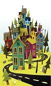 House,Community,Flower,Street,Ilustration,Hill,Old,Town,Landscape,Road,Urban Scene,Crowded,Housing Development,Mountain,Non-Urban Scene,Rural Scene,Curve,Red,Orange Color,Yellow,Green Color,Suburb,Cityscape,Sky,Stack,Heap,Vector,squished,Evergreen Tree,Blue,Purple,Rustic