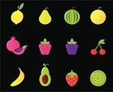 Pomegranate,Lemon,Raspberry,Cherry,Vector,Melon,Kiwi - Fruit,Icon Set,Berry Fruit,Fruit,Antioxidant,Freshness,Gourmet,Symbol,Strawberry,Watermelon,Banana,Ilustration,Green Color,Cartoon,Healthy Lifestyle,Black Color,Set,Food And Drink,Isolated Objects,Nutrient,Fruits And Vegetables,Vibrant Color,Multi Colored,Juicy,Red,Yellow,Backgrounds,Sweet Food,Cute,Healthy Eating,Isolated,Vector Icons,Group of Objects,Series,Exoticism,Food And Drink,Avocado,Remote,Nature,Vitality,Collection,Illustrations And Vector Art,Pear,Clip Art,Isolated-Background Objects,Isolated On Black,Black Background,Design Element,Vegetarian Food