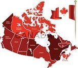 Canada,Map,province,territories,Vector,Computer Graphic,Flag,Red,Ilustration,Outline,International Border,No People,Simplicity,Digitally Generated Image,Illustrations And Vector Art,Concepts And Ideas,countries,Travel Locations