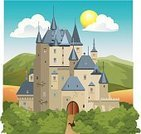 Castle,Fairy,Knight,Palace,Fairy Tale,kingdom,Forest,Land,Medieval,Vector,Landscape,Ilustration,Mountain,Middle Ages,Field,Tower,War,Knighting,Empire,Brick,Cloud - Sky,Majestic,Drawing - Activity,Battlefield,History,Construction Industry,Sun,Tree,Success,Mountain Range,Large,Landscaped,Concepts And Ideas,Illustrations And Vector Art,Arranging,Time,Fabolous