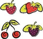 Raspberry,Blackberry,Strawberry,Berry Fruit,Cherry,Icon Set,Vector,Set,Sweet Food,Food And Drink,Vegetarian Food,Image,Vector Icons,Fruits And Vegetables,Nature Symbols/Metaphors,Nature,Illustrations And Vector Art