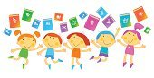 Child,Library,Book,Science,Symbol,Education,Playing,Cheerful,Recreational Pursuit,Textbook,Little Boys,Vector,cognition,Studying,School Children,Little Girls,Ilustration,Illustrations And Vector Art,Education,Wisdom,Industry,Achievement,Lifestyle,People,Vector Cartoons,Literature,Babies And Children,Creativity,Smiling,Learning