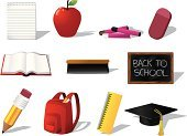 Icon Set,Blackboard,Crayon,Eraser,Computer Icon,Book,Education,Open,Back to School,Backpack,September,Spiral Notebook,Vector,Vector Icons,Ilustration,Set,Design,Note Pad,Pastel Crayon,Pencil,Mortar Board,Design Element,Apple - Fruit,Illustrations And Vector Art,Isolated Objects,Group of Objects,Ruler