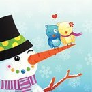 Christmas,Bird,Snowman,Greeting Card,Love,Christmas Card,Winter,Scarf,Holiday,Ice,Lovebird,Vector,Loving,Smiling,Hat,Winking,Ilustration,Holiday Backgrounds,Cold - Termperature,Snowing,Holiday Symbols,Holidays And Celebrations,Christmas,Snow,Snowflake,Carrot,Cheerful