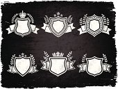 Shield,Military,Symbol,Coat Of Arms,Crown,King,Banner,Queen,Vector,Insignia,Nobility,honorary,Ornate,Dirty,Black Color,Distressed,Silver Colored,Vibrant Color,Damaged,Ilustration,Blank,Honor,Royal Crest,Concepts,Ideas,Stained,Gray,Design,Scratched,Silver Background,Ribbon,Grunge,Digitally Generated Image,Placard,Torn,Award,Unhygienic,Leaf