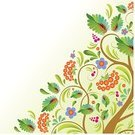 Fruit,Tree,curlicues,Rowanberry,Backgrounds,Autumn,Blue,Green Color,Pattern,Brown,Arts And Entertainment,Vector Backgrounds,Red,Leaf,Composition,Floral Pattern,Illustrations And Vector Art,Arts Abstract,Vector Ornaments,Flower,Blob,Ornate,Painted Image,Berry Fruit