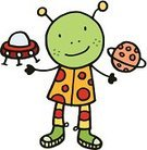 Planet - Space,Characters,Alien,People,Concepts And Ideas,Spaceship,Vector,Happiness